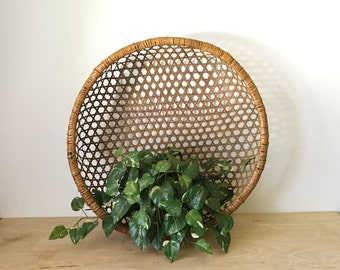 "Gigantic 25"" Primitive Japanese Woven Rattan Basket Wall Hanging"