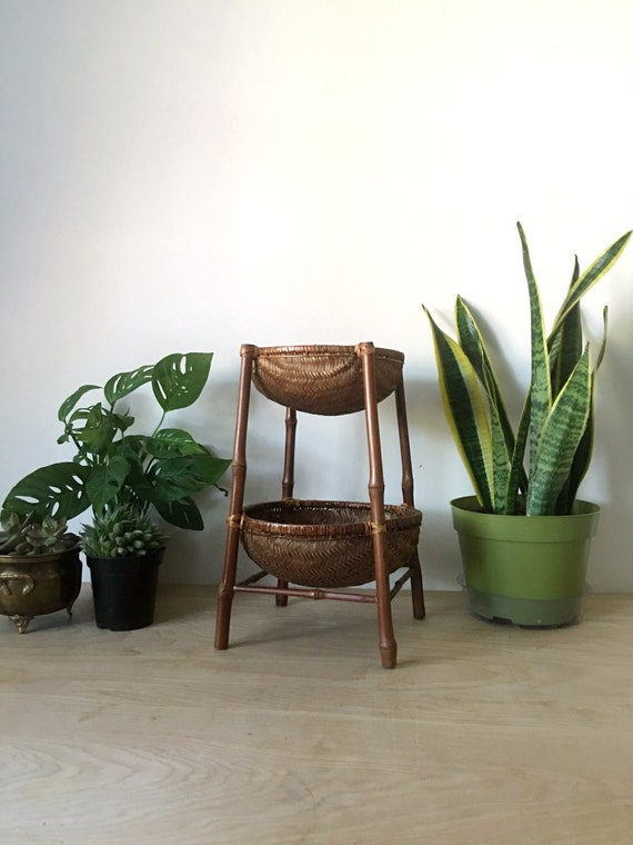 Vintage Two Tiered Woven Rattan Basket Plant Stand
