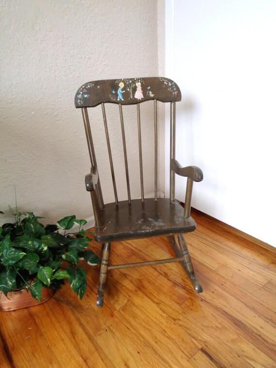Vintage Dark Wood Children 39 S Rocking Chair Mid Century