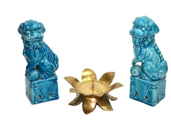 Foo Dog Statues Blue Foo Dogs Foo Dog Figurines Blue Ceramic Foo Dogs Imperial Lions Chinoiserie Asian Chinese Decor