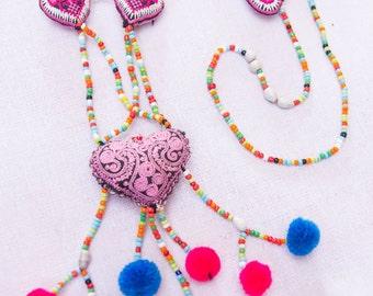 Hmong Heart Pompom Necklace/ Ethnic / Hippie/Boho / Tribal/Whole Sale