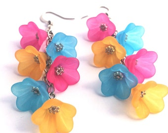 Colorful Earrings - Lucite Flower Earrings - Hot Pink Earrings - Dangle Earrings - Bridesmaid earrings - Turquoise Earrings - Beach wedding