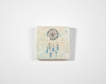 Art Blocks, Dream Catcher, Art Block, Wood Printing, Wood Block Art, Dream Catcher Print, Small Art, Meditation