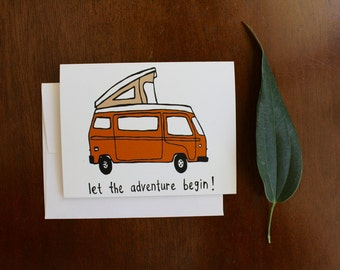 Greeting Card - Camper Van - Outdoors Mountain Adventure