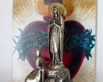 Vintage French Metal LOURDES Early 1900's Souvenir Statue- Great for Collectors