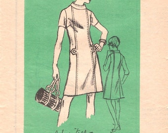 Mod Vintage 1960s Prominent Designer A571 Alice Schweitzer Panelled A Line Shift Dress with Tabs Sewing Pattern B38