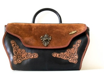 Vintage 70s Western style suede and leather handbag