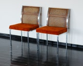 Pair of Mid Century Orange Chairs -Howell Company - 60s 70s Dining Room Steel Chrome and Upholstered Seat Woven Wooden Look Back - Near Mint