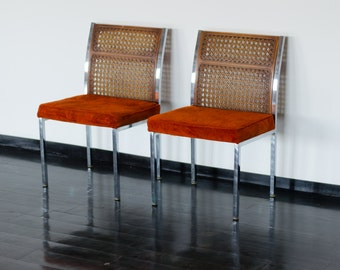 Pair of Mid Century Orange Chairs -Howell Company - 60s 70s Dining Room Steel Chrome and Upholstered Seat Wooden Look Back