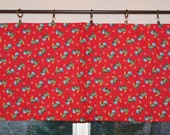 Kitchen Valance . Rooster Valance . Farm Curtain . Red Valance  . Handmade by Pretty Little Valances