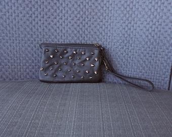 Hellraiser Spiked Black Purse Wallet Clutch Wristlet Zipper