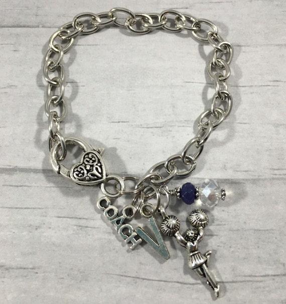 Cheer Charm Bracelets: Cheer Coach Gift / Cheer Jewelry / Cheerleading Bracelet