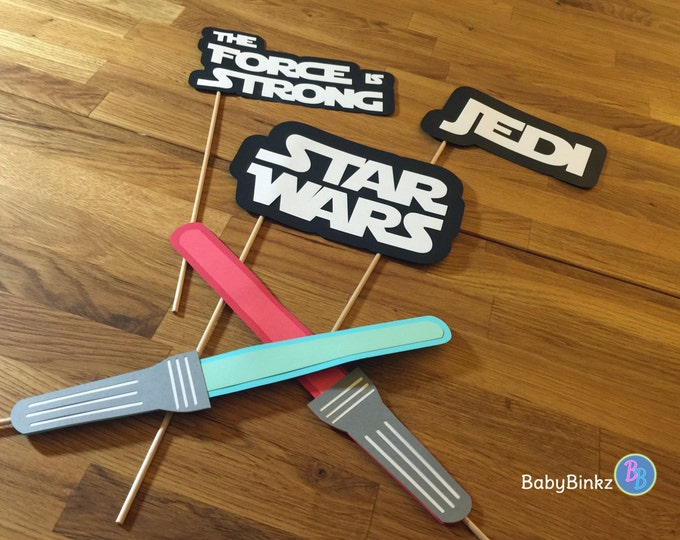 Photo Props: The Star Wars Phrase Set (5 Pieces) - party wedding birthday jedi force light saber lightsaber centerpiece