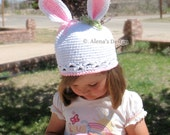 Crochet Pattern 012 - Bunny Hat Pattern - Baby Girl Baby Boy Toddler Child Hat with Bunny Ears White Beanie - Easter Spring - Christmas Gift