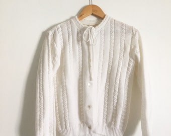 SALE_1940 1950 knit cardigan sweater off white L