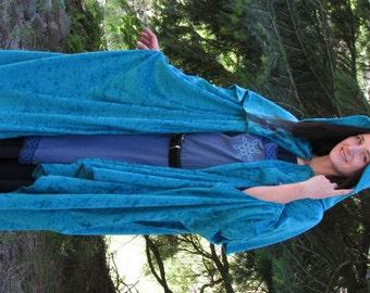 Hooded Cloak - Valknut - Teal Blue Velour - Adult Cloak - Medieval Cloak - Viking Cloak - Hooded Cape - Renaissance Cloak - Pagan Cloak