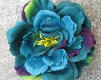 Teal, Turquoise and Purple Peony hair flower clip, realistic, XL, oversized, Large hair flower