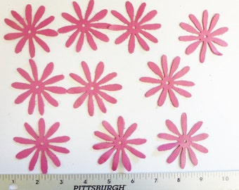 Leather Daisy Vintage PINWHEEL Decorative appliques 10 each center cross cut out Hot Pink DIVINE 2-2.5 oz / 1-1.2 mm #R32 PeggySueAlso™