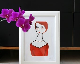 Original Woman Portrait with Frame - Original Gouache - Original Fine Art - Femme Fatale - Ready to Hang Art