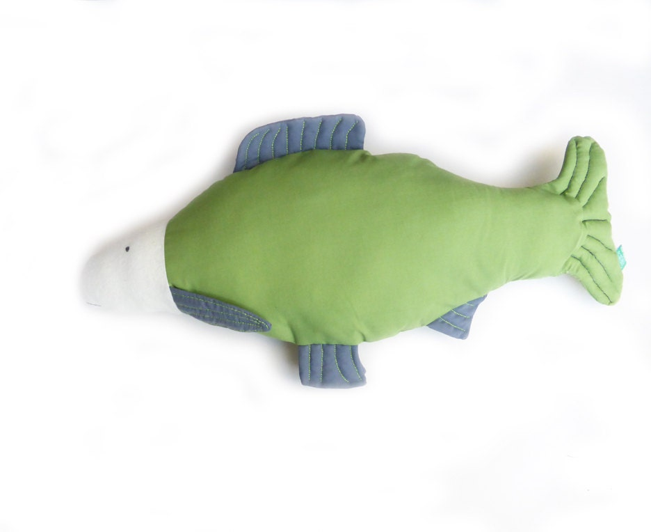 Fish pillow fish shape cushion green pillow fish cushion for Fish shaped pillow