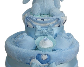 Bashful Bunny Two Tier Blue Fluffy Nappy Cake Baby Boy - Baby Shower Gift