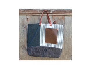 Ticking and Denim Tote Hand Waxed With Leather Pocket and Straps Small Classic Tote Bag
