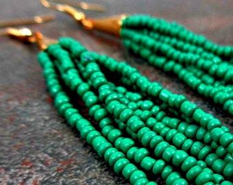 Tassel Earrings, Green, Teal, Fringe Earrings, Beaded Tassel Earrings, Statement Earrings, Bohemian, Boho, Gift for Her, Seed Bead Earrings