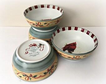 Lenox Winter Greetings Cardinal Holiday Soup Bowls