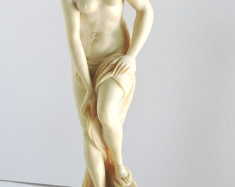 Vintage Sculpture,  Nude Female, Carved Alabaster, Home Decor