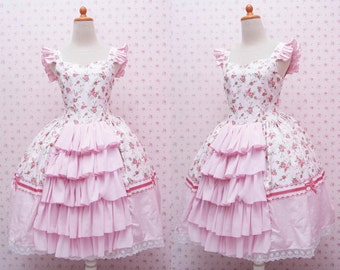 Pretty Pink Sweet Jumper Skirt Dress in Pink Rose Printed Fabric - Girls Birthday Dress - Sweet Lolita Dress - Kawaii Dress