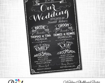 WEDDING CHALKBOARD POSTER, Wedding Party Poster, Wedding Chalkboard Sign, Printable Wedding Sign