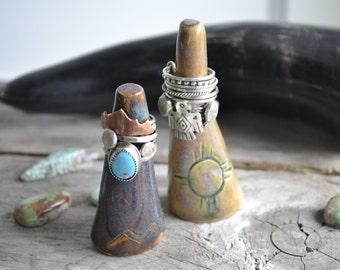 ceramic ring holder // mountain peak ring holder // mountain design in blue hare's fur