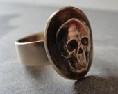 Skull Ring - Memento Mori skull jewelry in bronze ring size 7 by RQP Studio