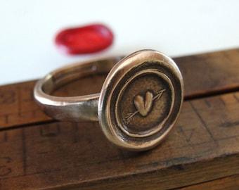 Wax Seal Ring Pierced Heart - antique wax seal jewelry Love Heart & Arrow by RQP Studio