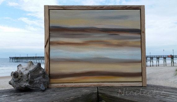 Beach inspired coastal art seashell, abstract landscape, seascape, reclaimed wood framed art, rustic cottage chic, coastal interior design