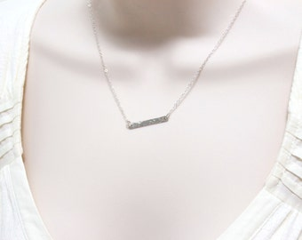 Hammered Bar Necklace / Slim Horizontal Bar Necklace / Modern / Minimal / Simple Handmade Sterling Silver Jewelry / Gift for Women