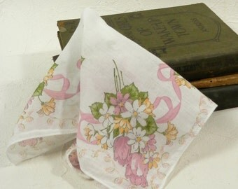 Vintage Cotton Hankie with Nosegay Mauve Pink Tulips Yellow and White Daisies and Ribbon Tussie-Mussie handkerchief