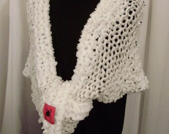 pure white knit wrap--Snow White Knit Shawl