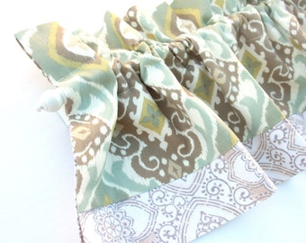 MARINE Valance Curtains Tan Aqua Blue Damask Trim Kitchen Curtains Valances 43 inches wide Window Treatments Eva Clements bananabunch