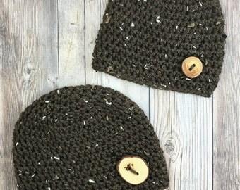 Tweed Baby Hat, Tweed Beanie, Boy Crochet Hat, Baby Boy Hat, Baby Photo Prop, Brown Tweed, Black Tweed, Cream Tweed Hat
