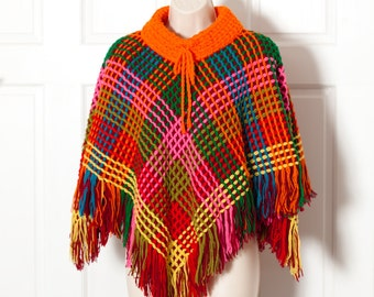 Vintage Super Colorful Wool Poncho - Hand Knitted - Portugal