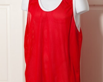 Red and White Jersey Tank - see-through - XL