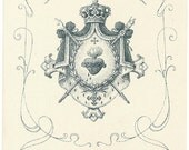Sacred Heart of Jesus Crest with Crown Antique French Catholic Holy Prayer Card, Beautiful Graphics, Engraving