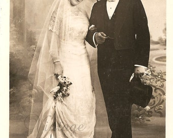 Beautiful Bridal Couple Edwardian Bride & Groom Antique French Photo Postcard Wedding Post Card from Vintage Paper Attic