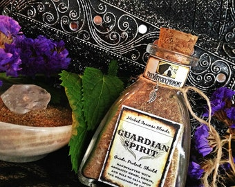 GUARDIAN SPIRIT INCENSE Powder for Peace, High Vibes, Protection - Herbal Incense Blend, Clear Quartz Crystal - Guardians, Angels, Guides