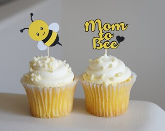 Set of 12 Mom to bee cupcake toppers baby shower gender neutral