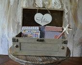 Beach starfish-wedding-bride-groom-advice-box-trunk-suitcase-holder-card-sign-beach themed destination wedding-Mr ans Mrs-wishes-wood box