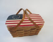 Picnic Basket, Vintage Sturdy American Flag Red White Blue 13 Colonies Stars and Stripes Memorial Day Patriotic 4th of July, Wood Splits