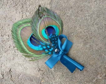 peacock boutonniere, buttonhole, feather boutonniere