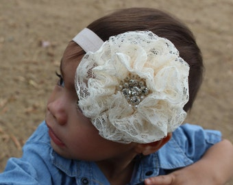 Lace flower headband with pearls and rhinestones